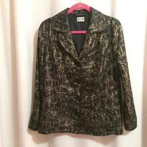 Chico's Jacket Black Gold Owls Button Front Cuffs